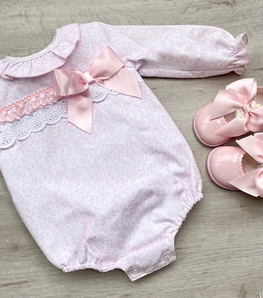 Pink Folral Bow Romper