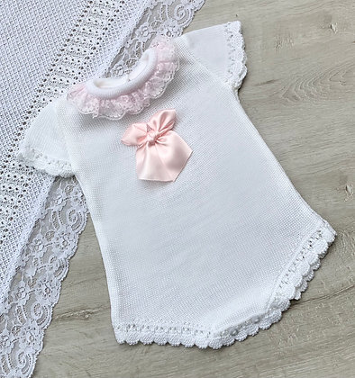 White and Baby Pink Bow Romper