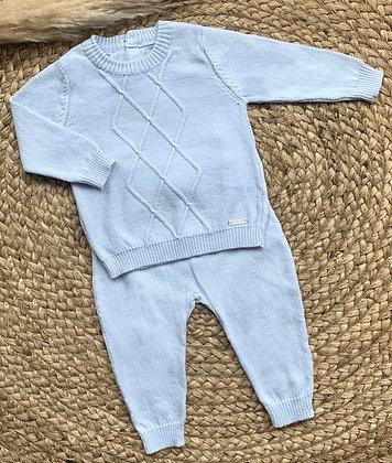 Diamond Cotton Polo Set - Baby Blue