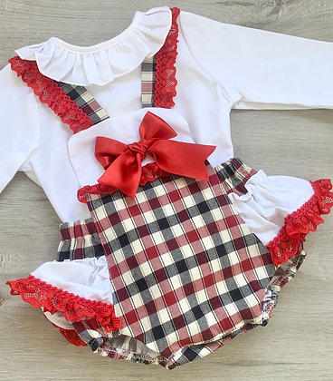 Festive Check Romper and Blouse