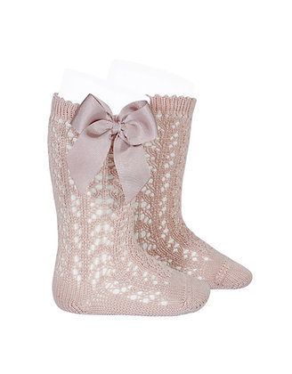 Condor Openwork Bow socks Rose Gold