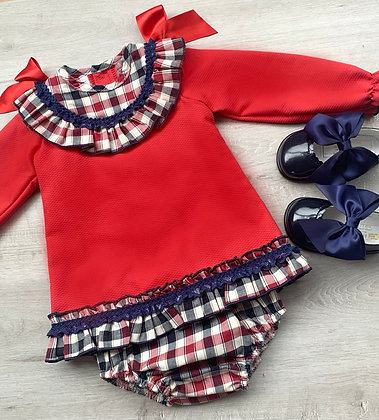 Red and Navy Check Dress