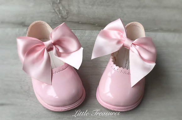 Hard sole Big Bow Shoes (Pink)