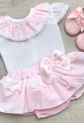 Gingham 2 piece Set Baby Pink