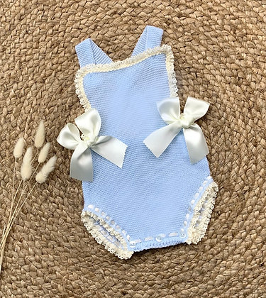 Spanish Summer Double Bow Romper (Baby Blue and Cream)