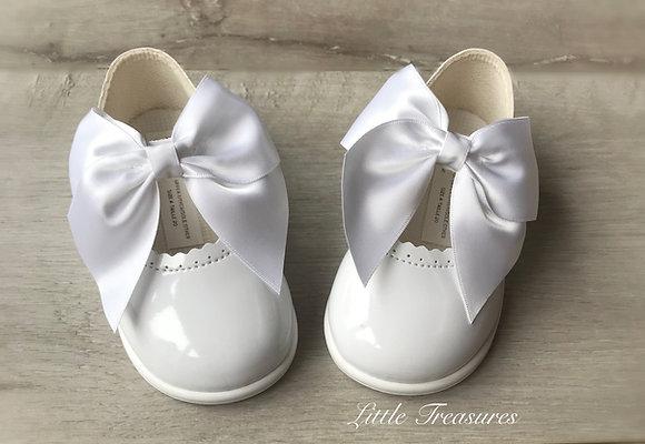 Hard Sole Big Bow Shoes(White)