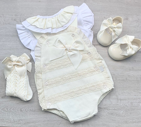 Cream ruffle sleeve blouse and Romper