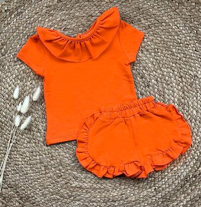 Ruffle Short Set - Orange