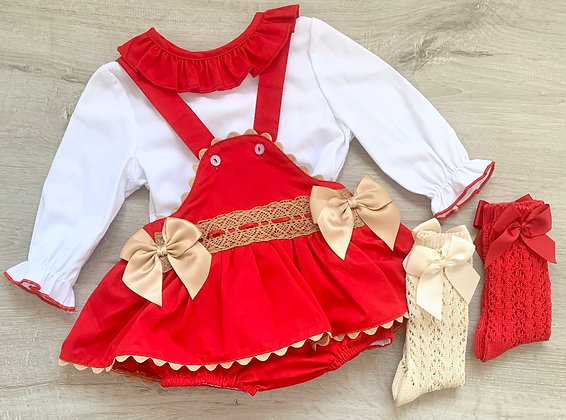 Red and Gold Christmas  Blouse and Romper