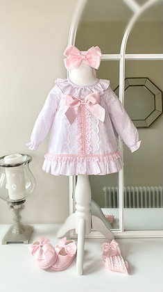 Pink Folral Bow Dress and Panties