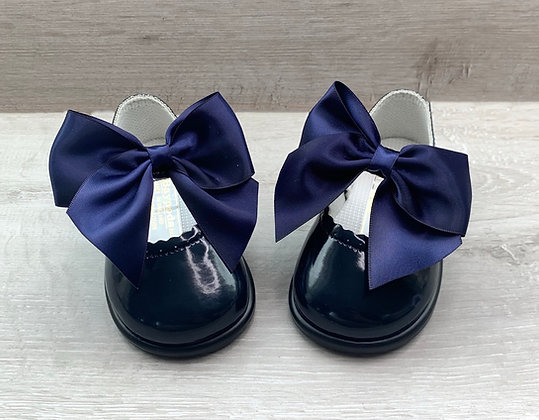 Hard Sole Big Bow Shoes (Navy Blue)