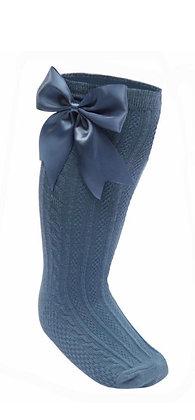 Bow knee Socks - Blue