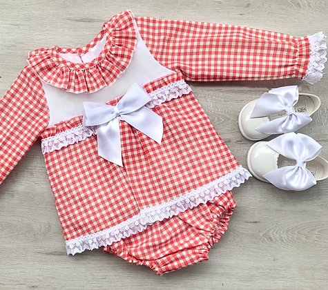 Berry Red and White Check Dress