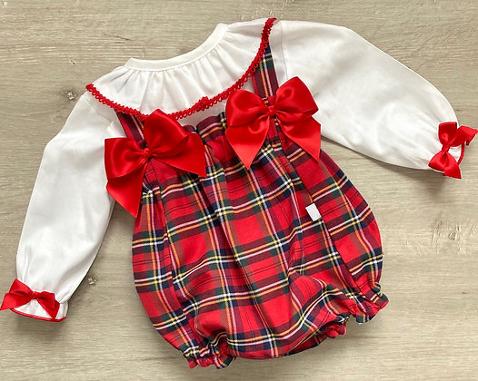 Frilly Collar Blouse and Tartan Romper
