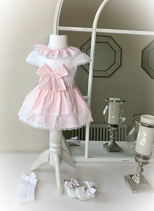 Hollie Bow blouse and Skirt ( Pink)