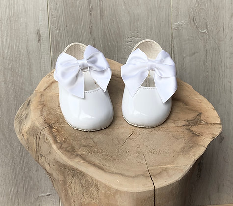 Baby girl large bow shoes (white)
