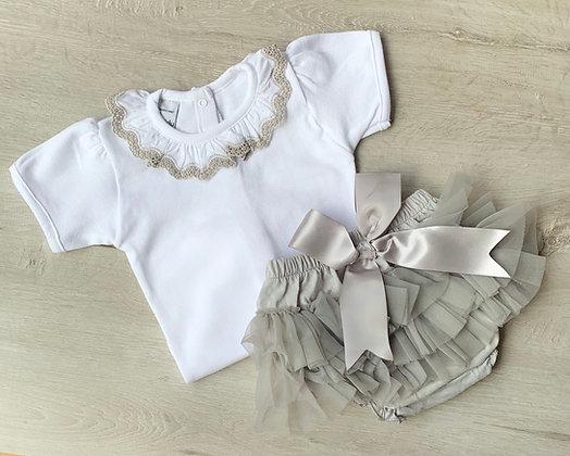 Frilly collar and tutu 2 piece (Grey)
