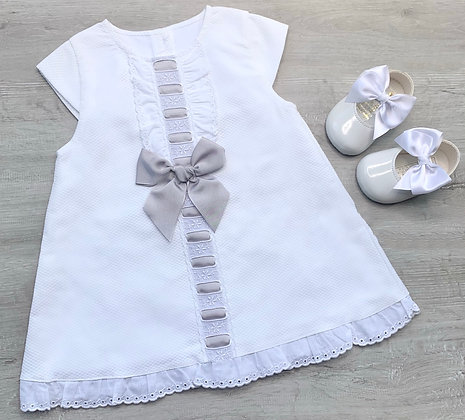 Ella Dress with Grey Bow and Panties