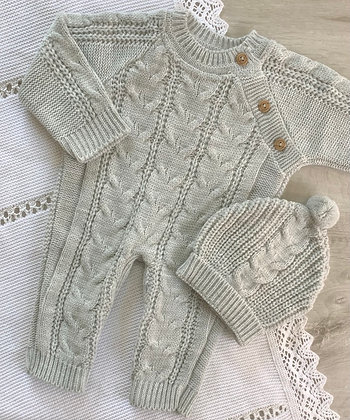 Cable knit Romper and Hat (Grey)