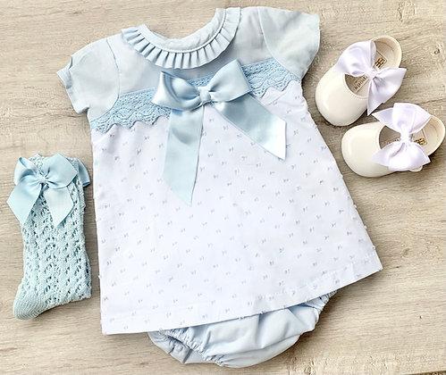 Baby blue Popcorn Dress and Panties