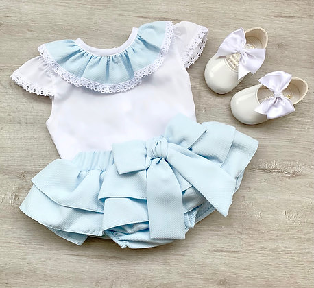 Hetti Blouse and Bow Skirt (Baby Blue)