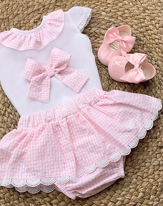 Gingham Bow 2 piece Set Baby Pink