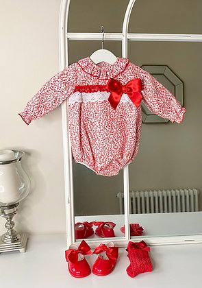 Red Folral Bow Romper