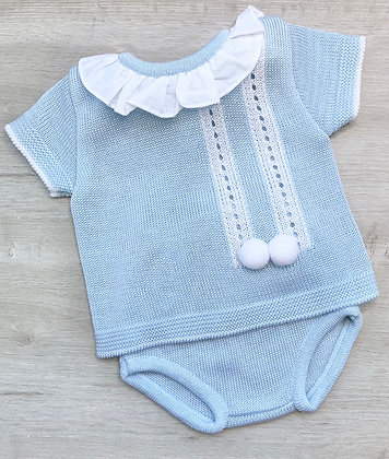 Baby Blue Pom Pom jam pant set