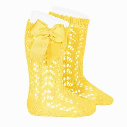 Condor Openwork Bow socks Yellow