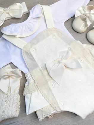 Frilly collar Blouse and Cream Romper