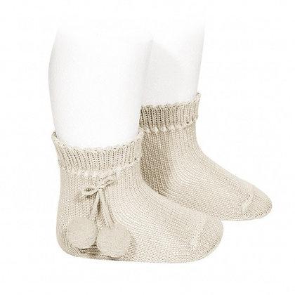 Condor Ankle Pom Pom Socks Caramel