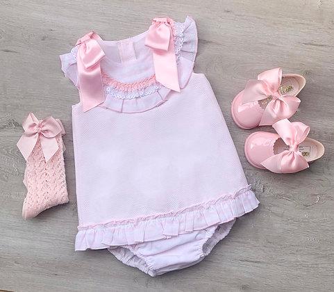 Double Ribbon Dress (Baby Pink)