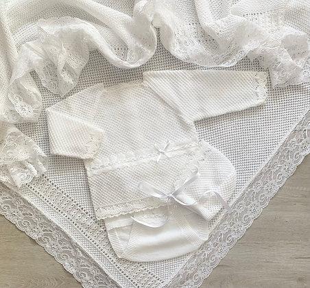 Long Sleeve Marco Luxury 3 piece set (White)