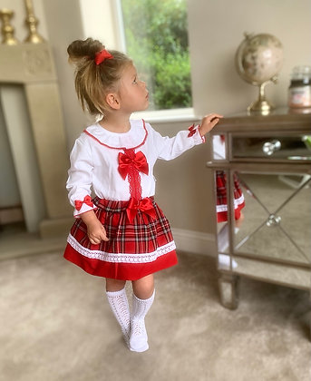 Tartan Blouse and skirt ( Red)