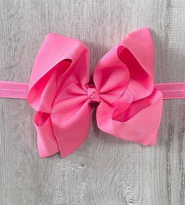 6 inch Bow Headband (Bright Pink)