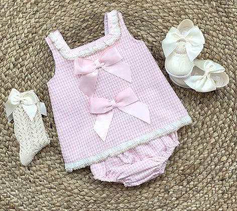 Pink Gingham Dress and Panties