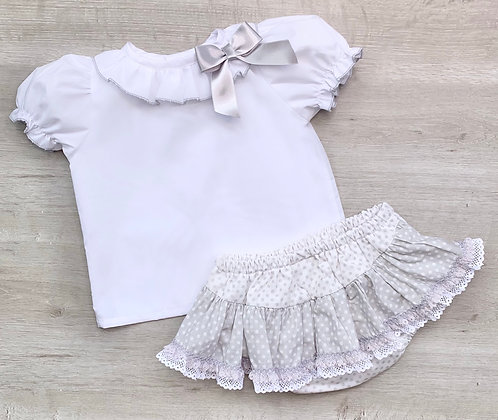 Grey Bow Blouse and ruffle Bum 2 piece