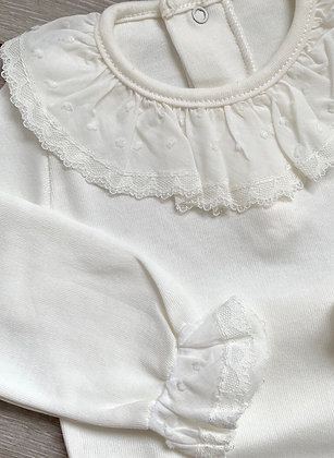 Spanish frilly collar and cuff Bodysuit (Cream)