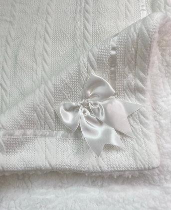 Snuggly White Bow Blanket