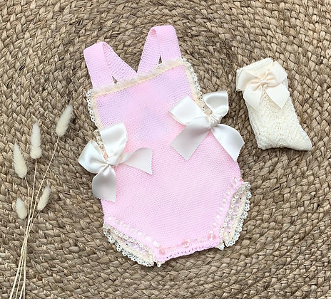 Spanish Summer Double Bow Romper (Pink and Cream)