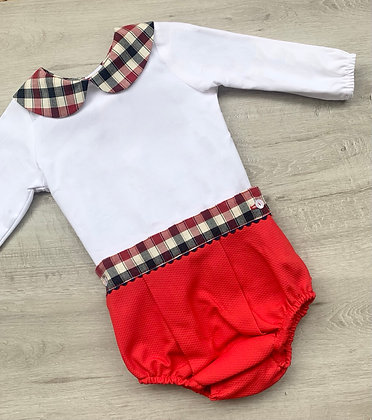 Boys Red and Navy Check Jam Pant Set
