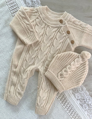 Cable knit Romper and Hat (Beige)