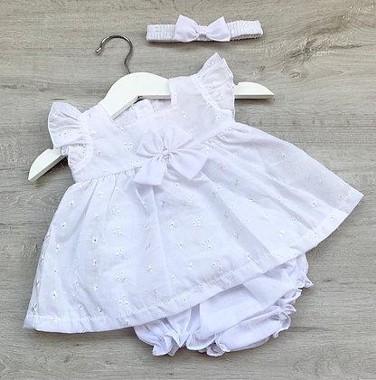 White Daisy Dress with matching panties and heandband