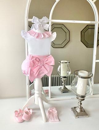 Big Bow Jam Pant and Blouse set Pink