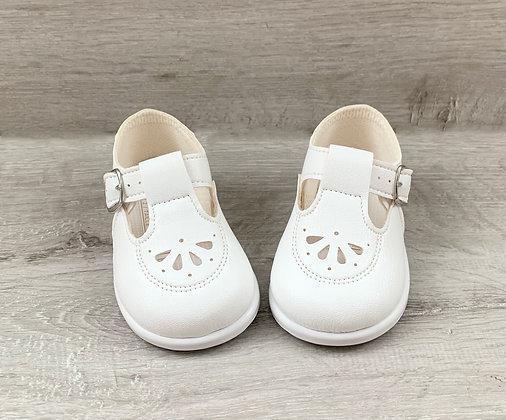 White Hardsole TBar Shoes