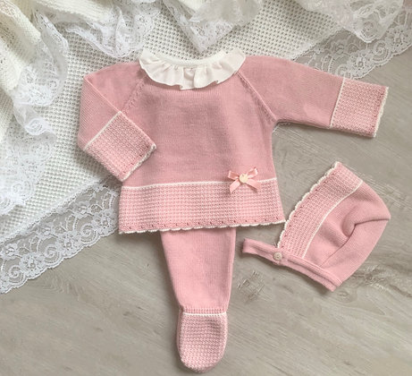 Knitted 3 Piece Set (Pink)