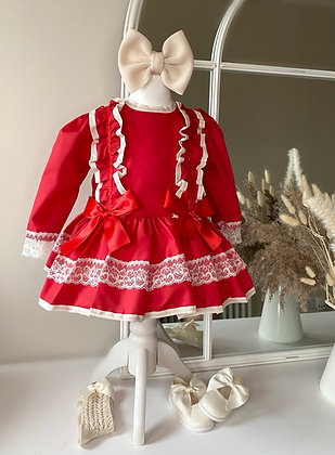 Princess long Sleeved lace Dress - Red