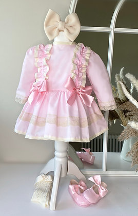 Princess long Sleeved lace Dress - Pink