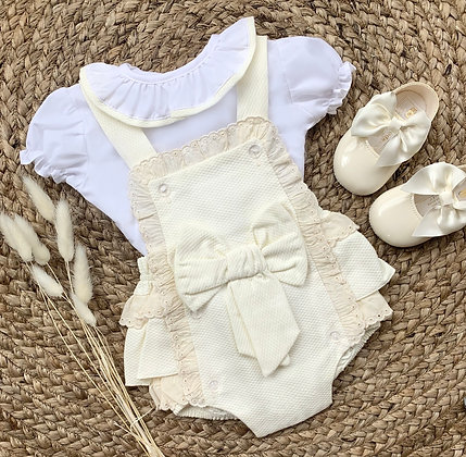 Frilly collar short sleeve Blouse and Cream Romper