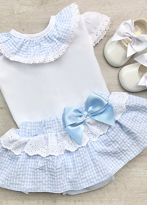Gingham 2 piece Set Baby Blue